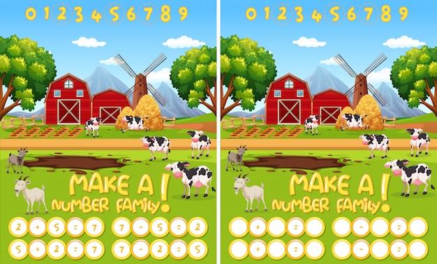 Faça uma planilha da família de números