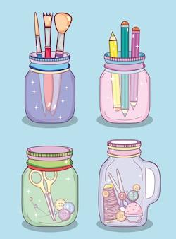 Faça você mesmo artesanato com conceito de frasco de mason