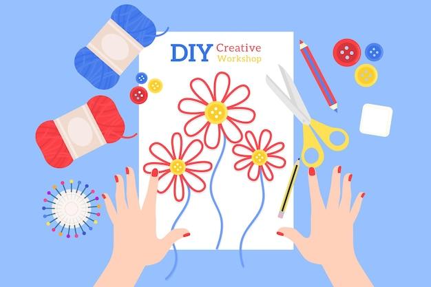 Faça você mesmo costurando flores