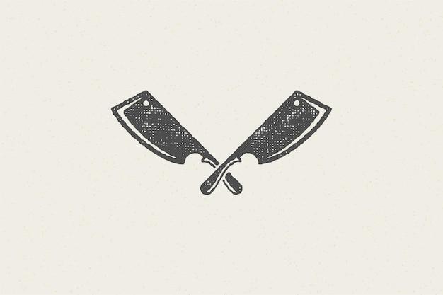 Facas afiadas de açougueiro cruzaram o símbolo da silhueta para efeito de carimbo desenhado à mão da indústria da carne