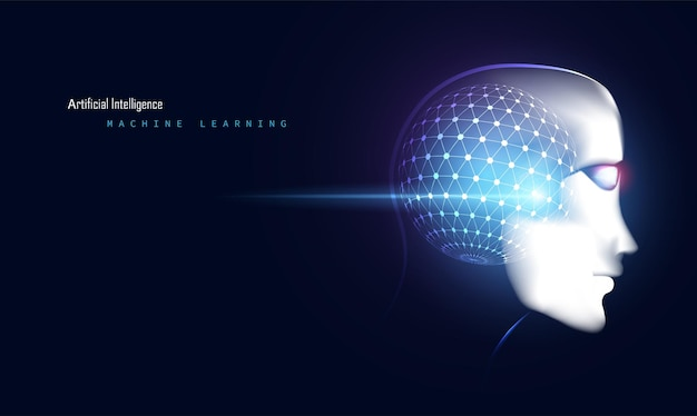 Face da tecnologia futurista digital de inteligência artificial abstrata inteligente