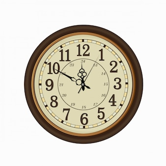 Face do relógio vintage velho isolado no fundo branco