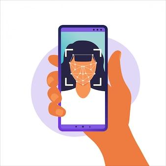 Face id, sistema de reconhecimento de rosto. sistema de identificação biométrica facial digitalização no smartphone. mão segurando o smartphone com cabeça humana e aplicativo de digitalização na tela. ilustração.