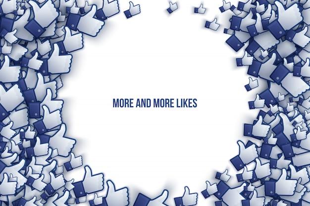 Facebook 3d como ícones de mão - arte vetorial