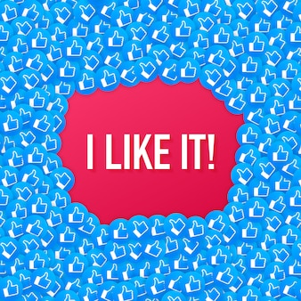 Facebook como fundo de composição de ícone. eu gosto disso. mídia social como o polegar para cima.