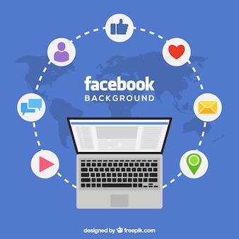 Facebook fundo com laptop