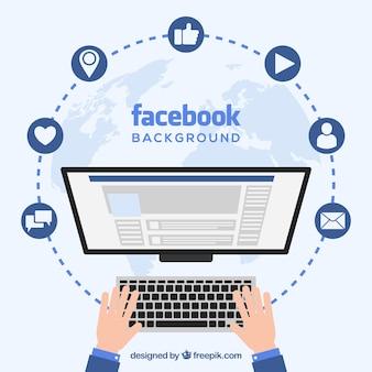 Facebook, fundo, computador, tela