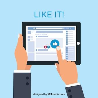 Facebook fundo das mãos com tablet