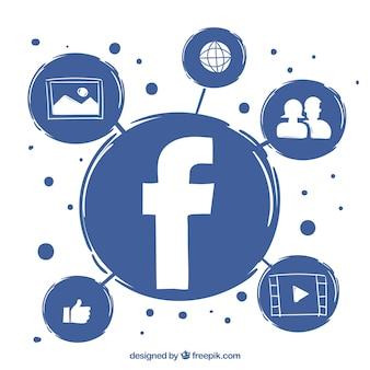Facebook fundo e ícones desenhados a mão