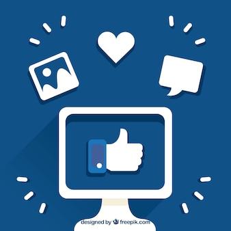Facebook, fundo, polegar, cima, dentro, tela