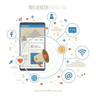 Facebook influenciador fundo com decive e emoticons