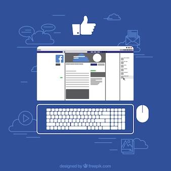 Facebook no fundo da tela do comuter