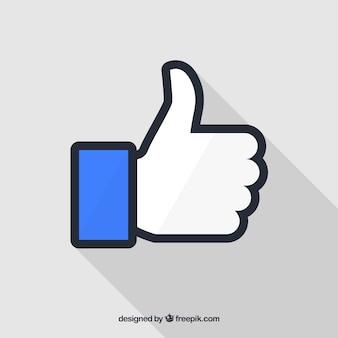 Facebook polegar para cima como plano de fundo em estilo simples