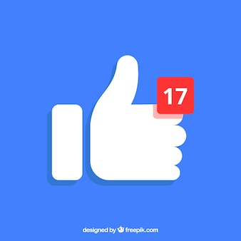 Facebook polegar para cima fundo com notificação