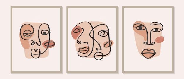 Faces de desenho contemporâneo abstratas com uma linha contínua