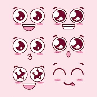Faces de expressão de olhos kawaii