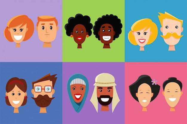 Faces de pessoas de diferentes nacionalidades e emoções definidas.