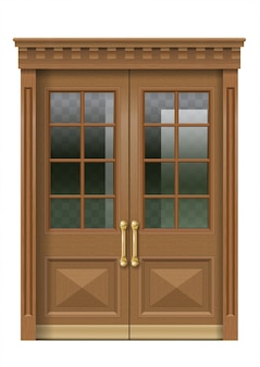 Fachada com porta de entrada de madeira velha