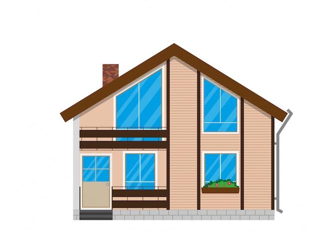 Fachada da casa de madeira com varanda.