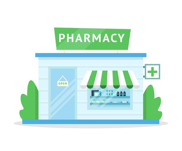 Fachada da farmácia, exterior da drogaria, arquitetura moderna do edifício da loja de medicamentos.