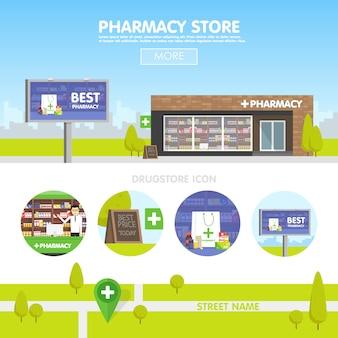 Fachada da farmácia no urbano, a venda de medicamentos e pílulas.