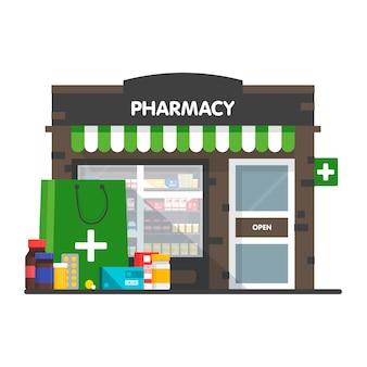 Fachada da ilustração de farmácia