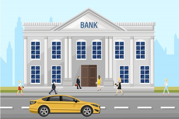Fachada de arquitetura do banco. pessoas andando pela rua. ilustração de estilo simples