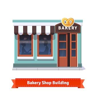 Fachada de construção de padaria com placa