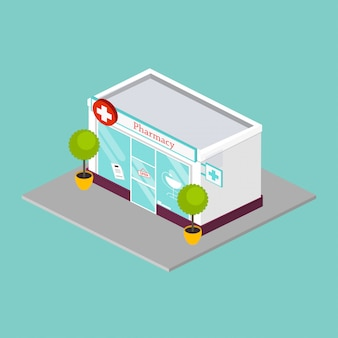 Fachada de loja de farmácia isométrica farmácia. ilustração do estilo simples.