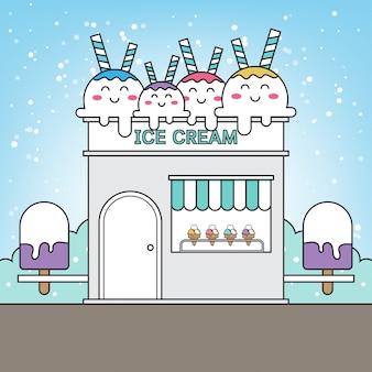 Fachada do edifício de loja de doces. ilustração.