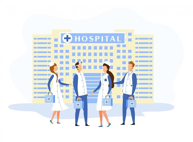 Fachada do edifício do hospital e desenhos animados de pessoal médico