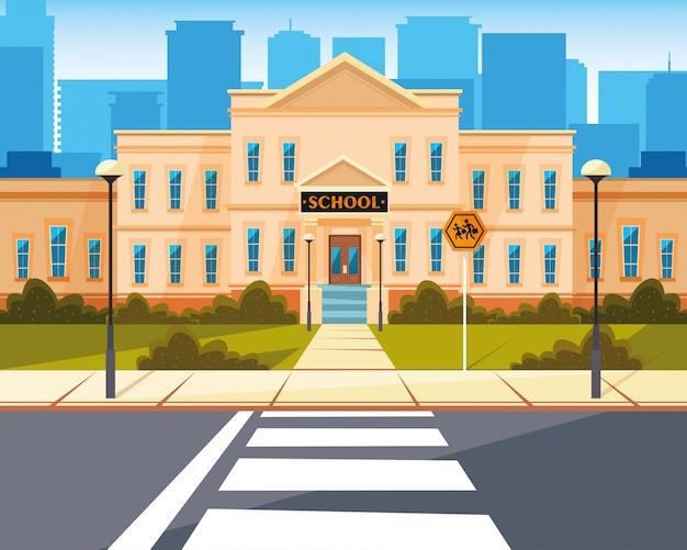 Fachada do prédio da escola com estrada