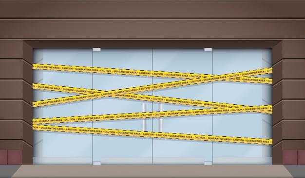 Fachada do shopping com montra fechada