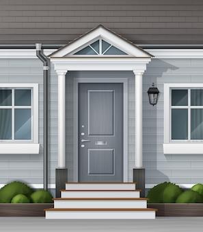 Fachada e fachada da casa de entrada com janela da porta da frente e plantas em vasos com design externo