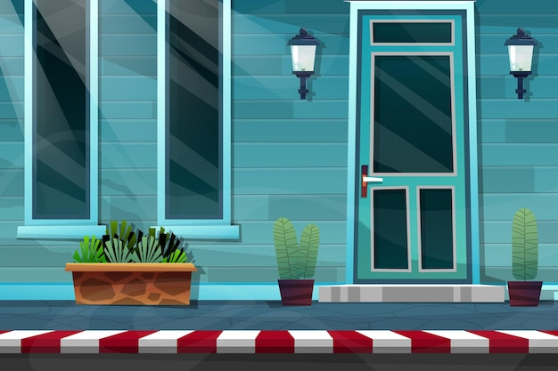 Fachada externa da casa com porta de madeira da frente da casa de tijolos e lâmpada na parede azul, janela de vidro e planta em vaso na rua lateral