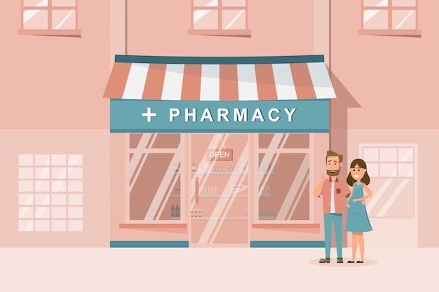 Fachada frontal de loja de farmácia na cidade