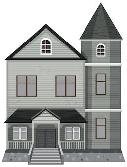 Fachada isolada de mansão assombrada