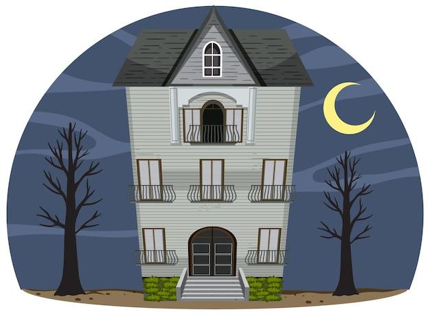 Fachada isolada de mansão mal-assombrada à noite