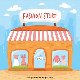 Fachada loja de moda no estilo do vintage