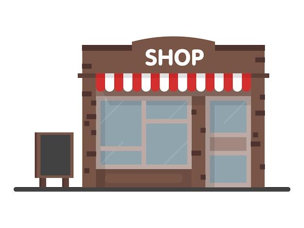 Fachada loja loja ícone com placa. conceito de modelo para o site, publicidade e vendas