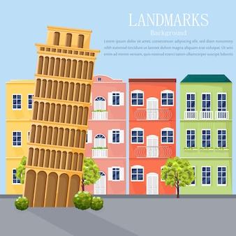 Fachadas de arquitetura de paisagem urbana de itália