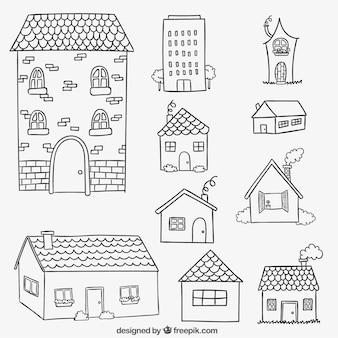Fachadas de casas em estilo desenhado mão