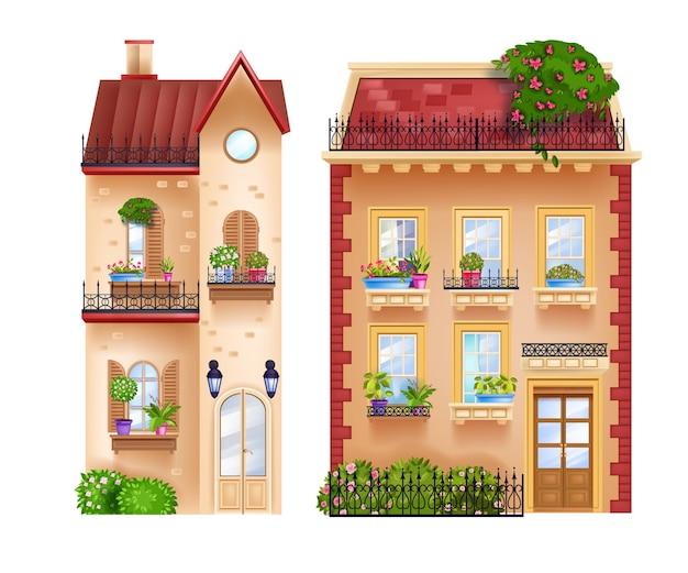 Fachadas de edifícios, chalés vintage, casas antigas isoladas no branco, telhados, janelas.