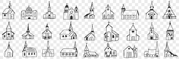 Fachadas de igreja com conjunto de torres de doodle