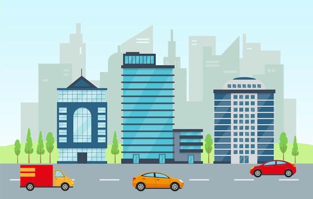 Fachadas de paisagens e escritórios comerciais