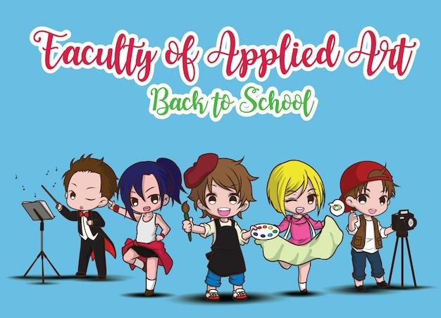 Faculdade de arte aplicada., de volta à escola.