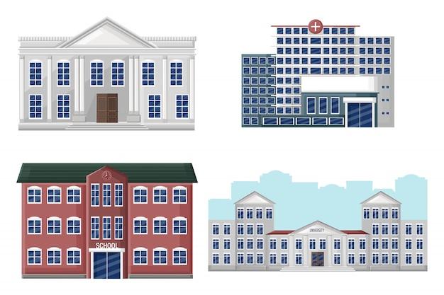 Faculdade de coleção de fachadas arquitetônicas, escola, hospital e banco