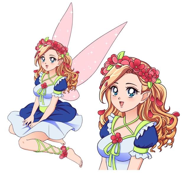 Fada bonita com cabelo loiro encaracolado, usando grinalda de flores e vestido branco bonito. estilo retro do anime.