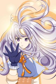 Fada bonita e fofa com ilustração de cabelo longo roxo