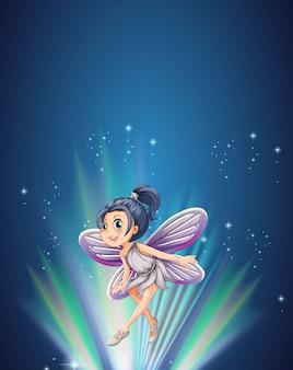 Fada bonita voando à noite